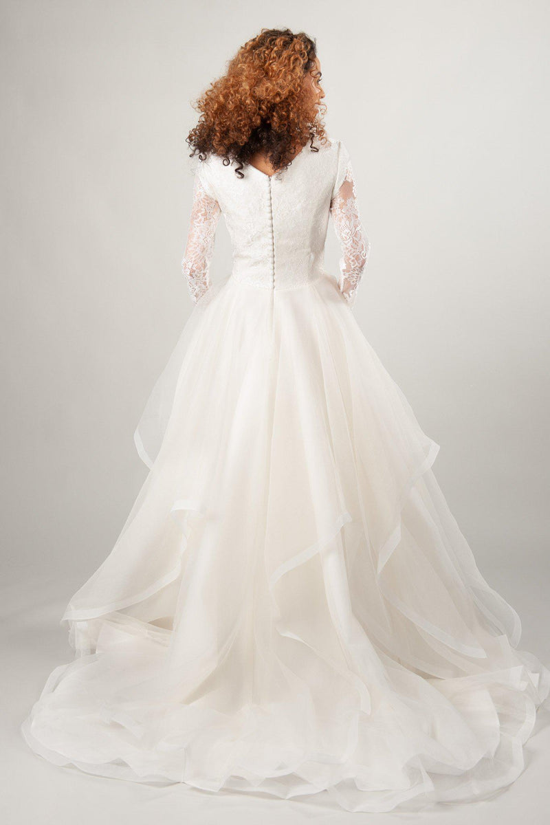 dramatic modest ballgown wedding dresses with horsehair skirt and scoop neckline at LatterDayBride