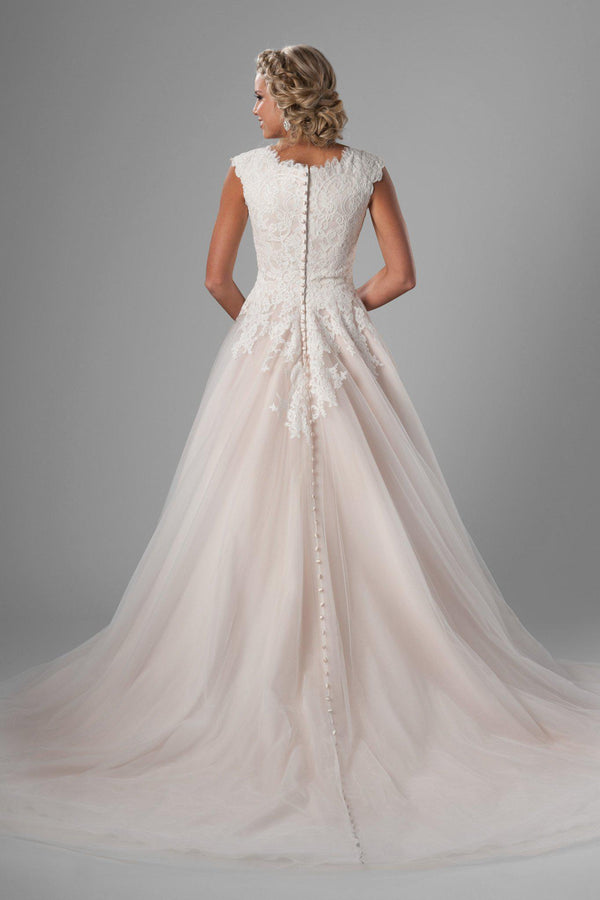 Back of Modest  ballgown, style Dakota, is part of the LatterDayBride Collection, a Salt Lake City bridal shop.