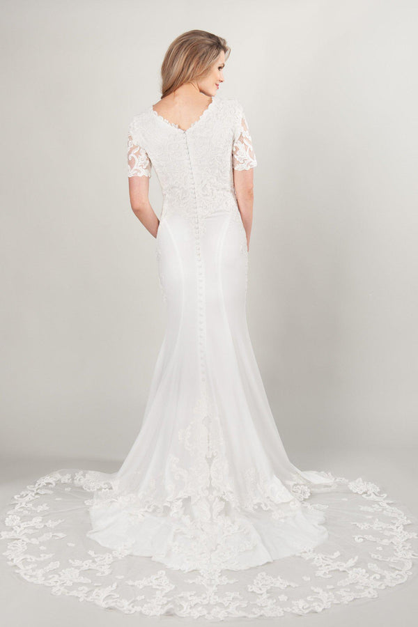 modest wedding dresses at LatterDayBride with lace details and mermaid silhouette at LatterDayBride