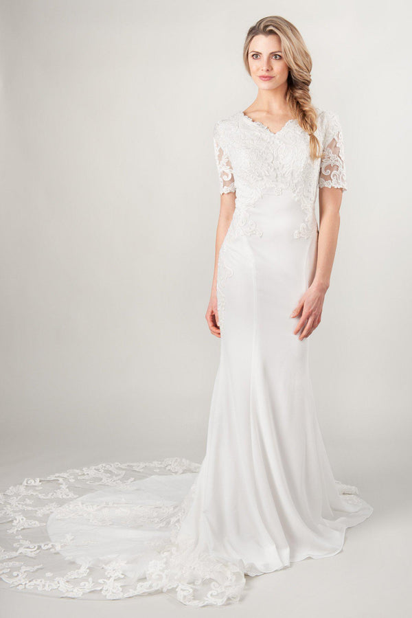 cfd34e2f366c2 ... modest crepe wedding dresses with lace sleeves and train at  LatterDayBride
