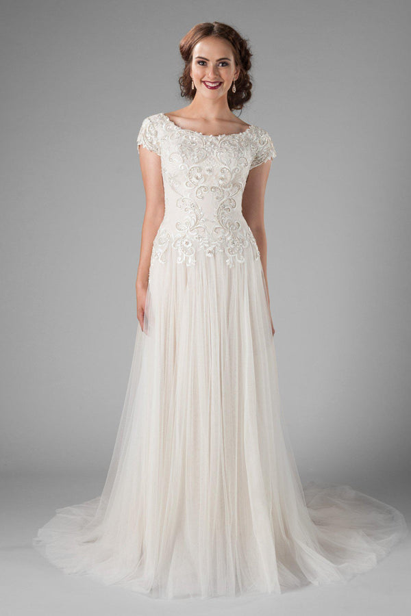 Modest flattering sheath wedding gown, style Equestria, is part of the LatterDayBride Collection, a Utah bridal shop.
