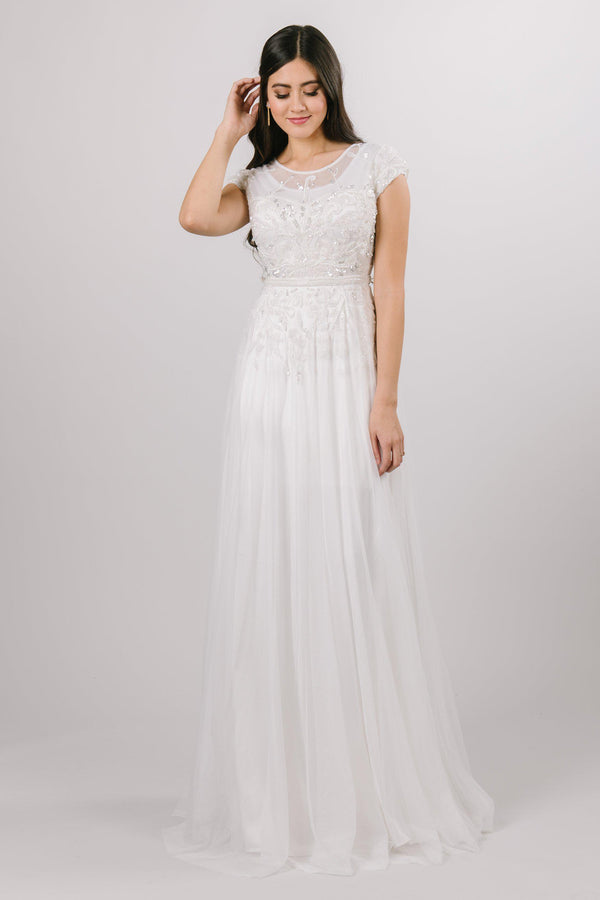 Beaded bodice, soft aline modest wedding dress from salt lake city bridal shop