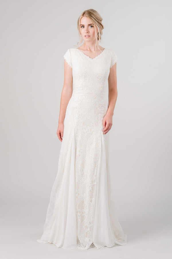 Vintage lace modest wedding dress from LatterDayBride, a modest bridal shop in Downtown Salt Lake City, Utah.