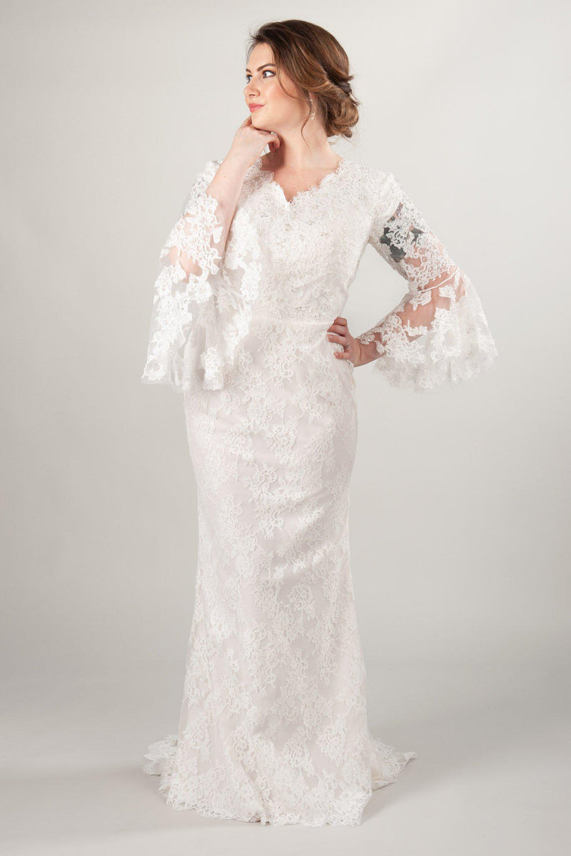 Giselle in plus size with long sleeves, a modest wedding dress at LatterDayBride