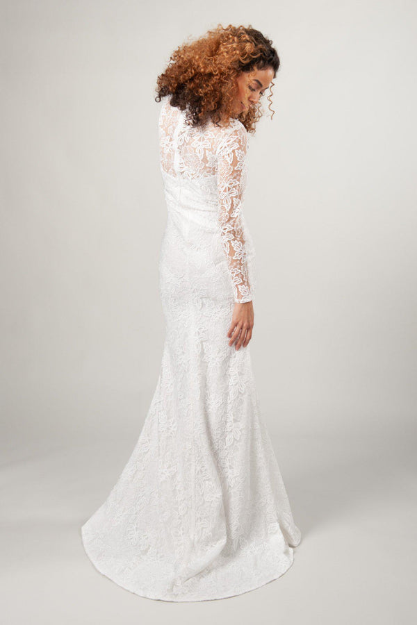 back view of the Hailey in ivory with lace and mermaid silhouette