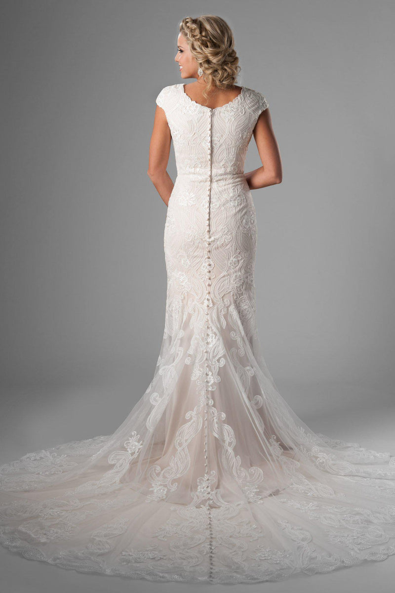 Back of Stunning modest mermaid gown, style Havana, is part of the Wedding Collection of LatterDayBride, a Salt Lake City bridal store.
