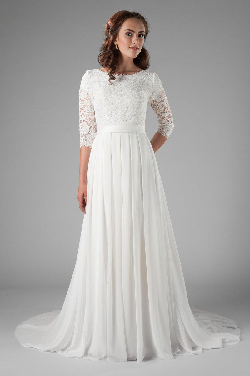 Modest chiffon wedding dress,, style Haven, is part of the Wedding Collection of LatterDayBride, a Salt Lake City bridal store.