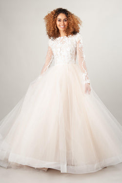 nude top modest wedding dresses with long lace sleeves and ballgown skirt at LatterDayBride