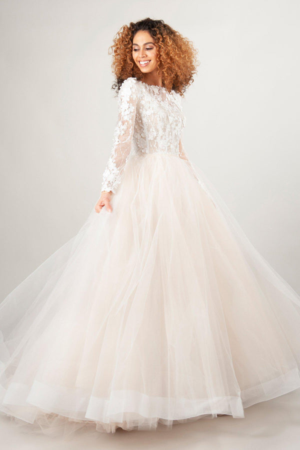 modest wedding dresses with lace illusion long sleeves and tulle skirt at LatterDayBride