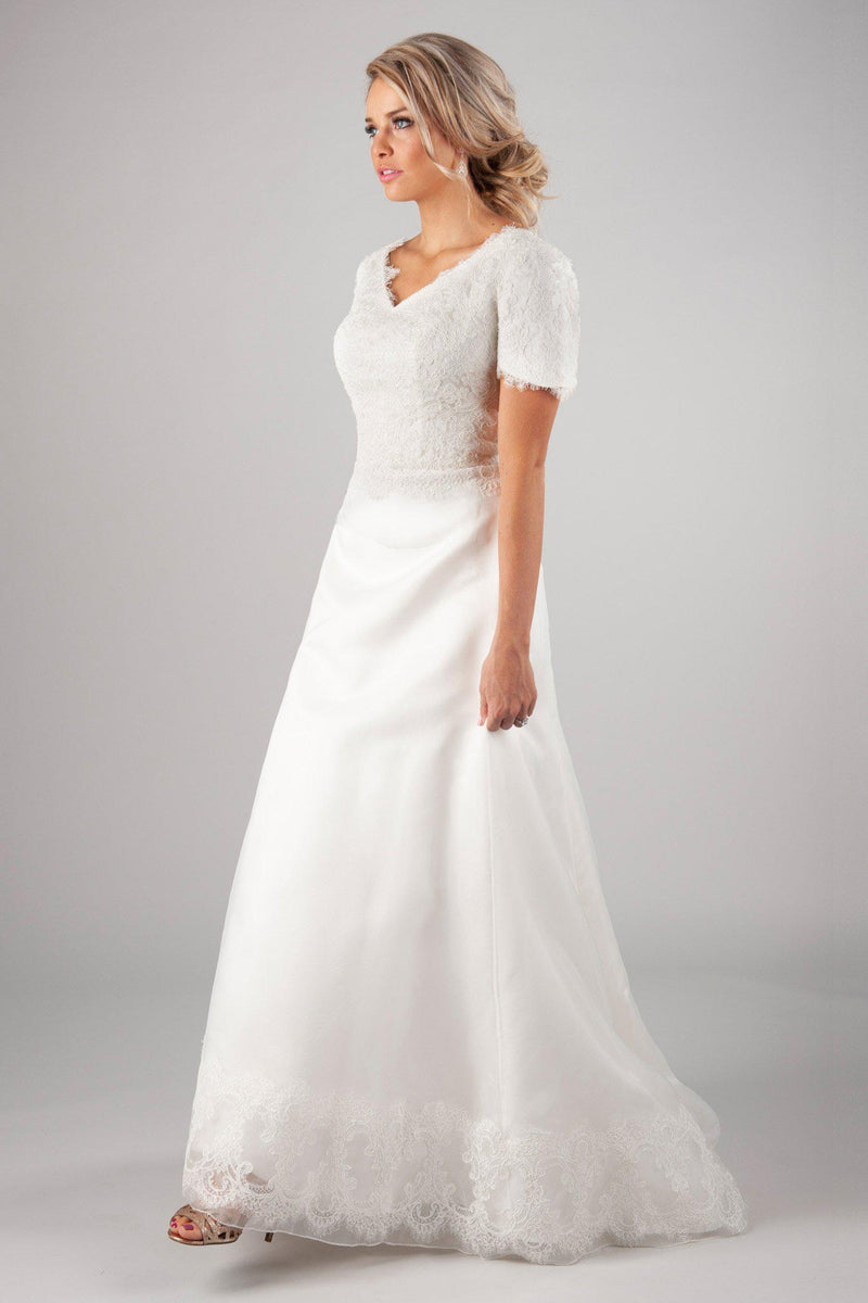 Dreamy modest wedding dress, style Jocelyn, is part of the Wedding Collection of LatterDayBride, a Salt Lake City bridal shop.