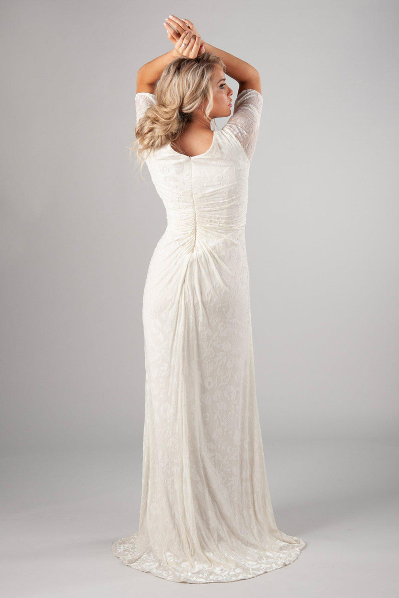 Back of Soft and velvet bridal gown, style Katniss, is part of the Wedding Collection of LatterDayBride, a Salt Lake City bridal store.