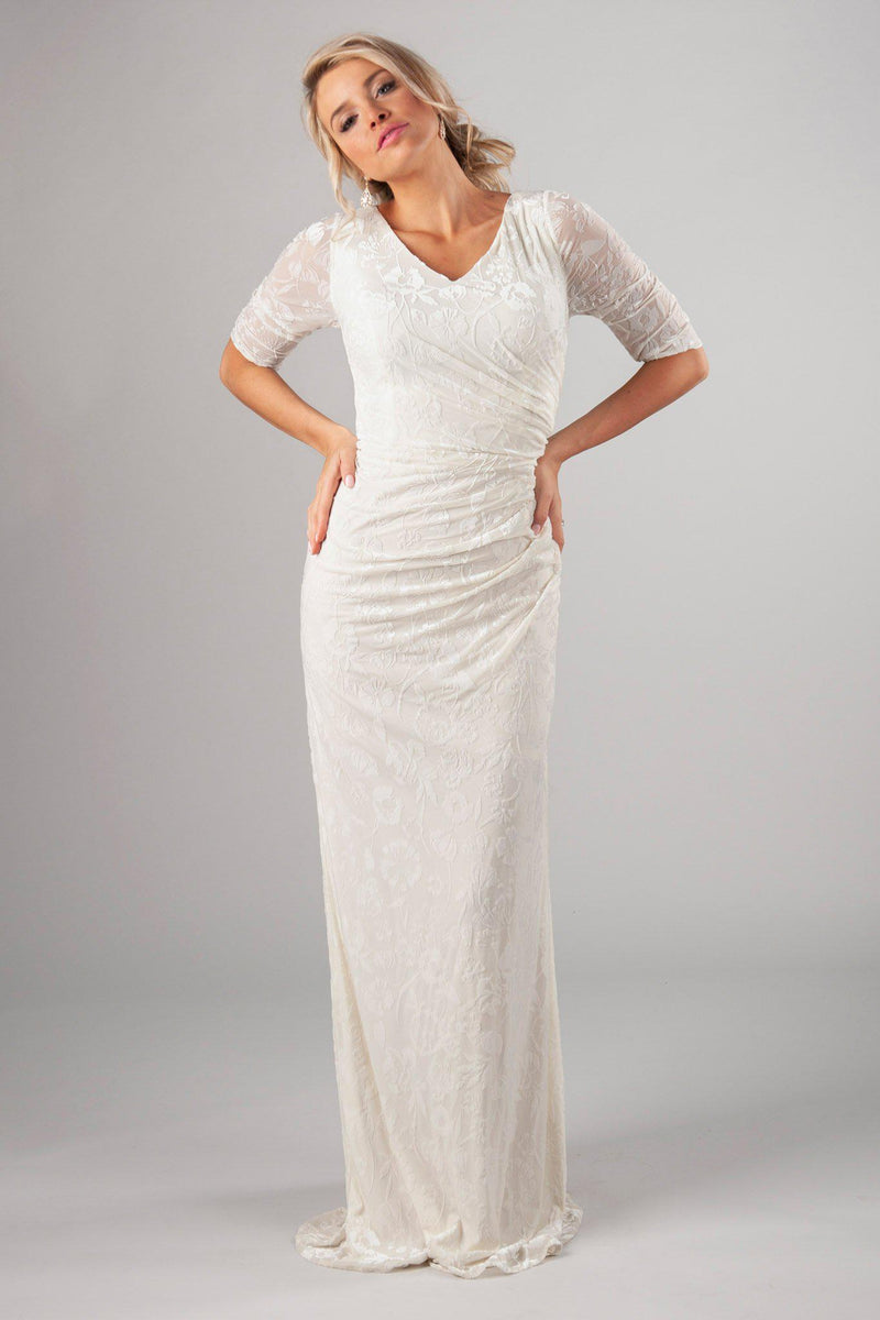Soft and velvet bridal gown, style Katniss, is part of the Wedding Collection of LatterDayBride, a Salt Lake City bridal store.