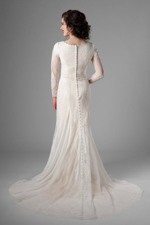 Modest wedding dress, style Kennedy, is part of the Wedding Collection of LatterDayBride, a Salt Lake City bridal store.