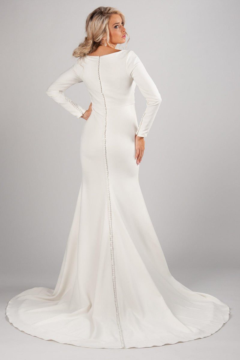 Back of Modest long sleeve bridal gown, style Markella, is part of the Wedding Collection of LatterDayBride, a Salt Lake City bridal shop.