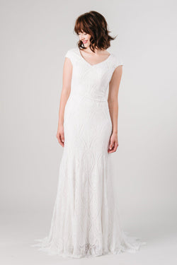 Front of fitted lace modest wedding dress from LatterDayBride in Salt Lake City, Utah.