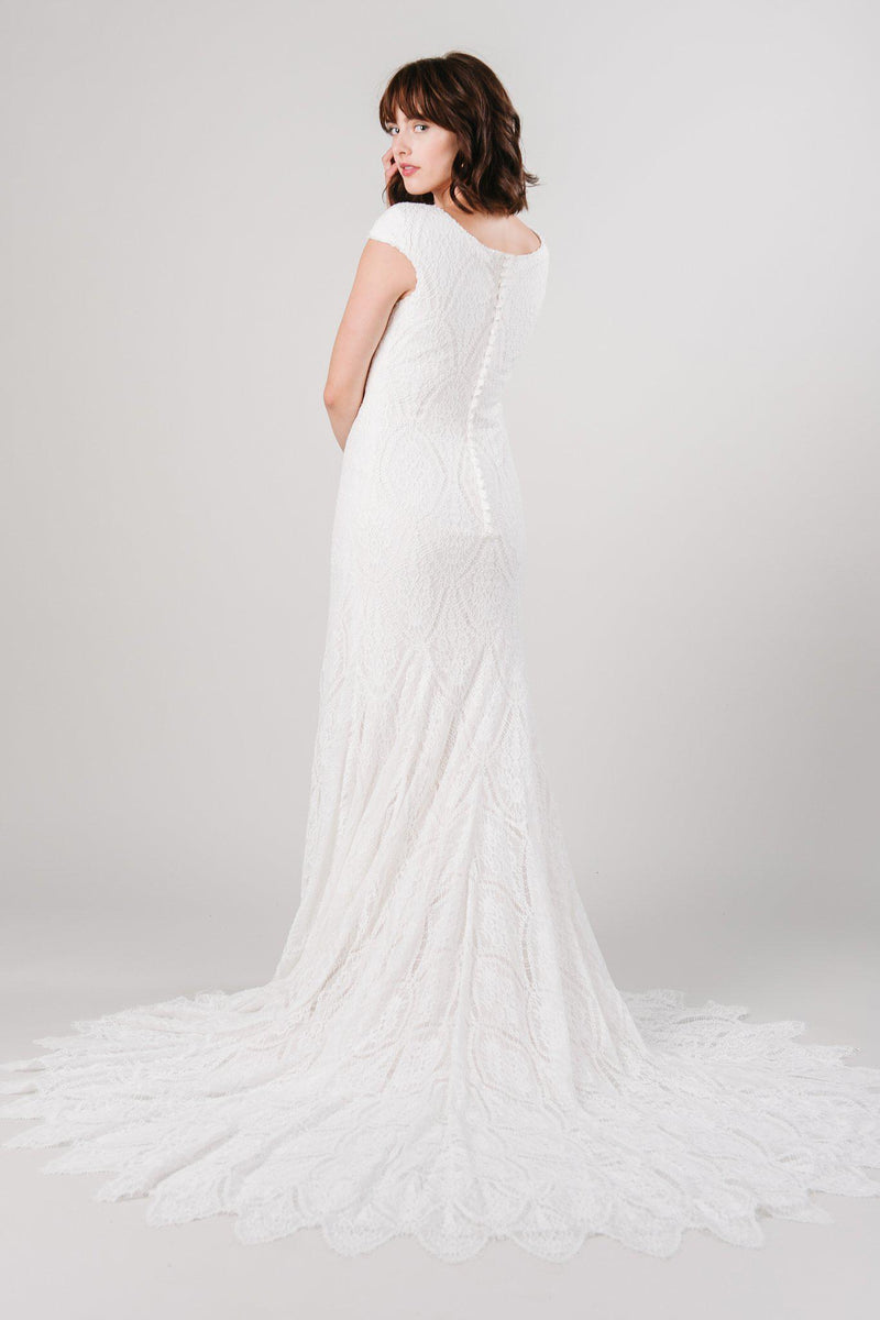 Back of fitted lace modest wedding dress from LatterDayBride in Salt Lake City, Utah.