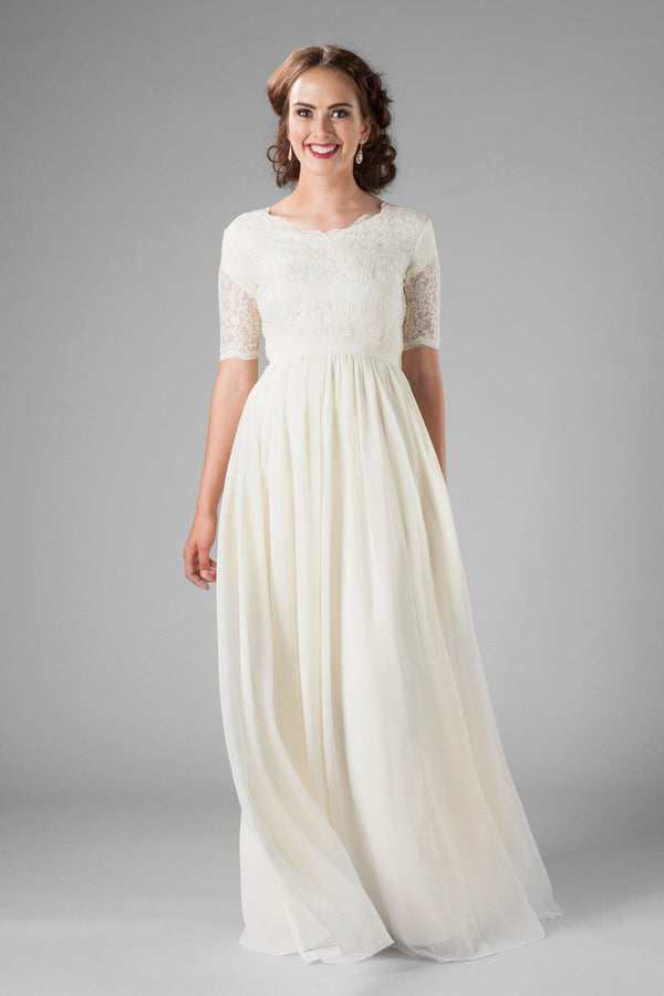 Delicate and flowy wedding gown, style Paloma, is part of the Wedding Collection of LatterDayBride, a Salt Lake City bridal store.