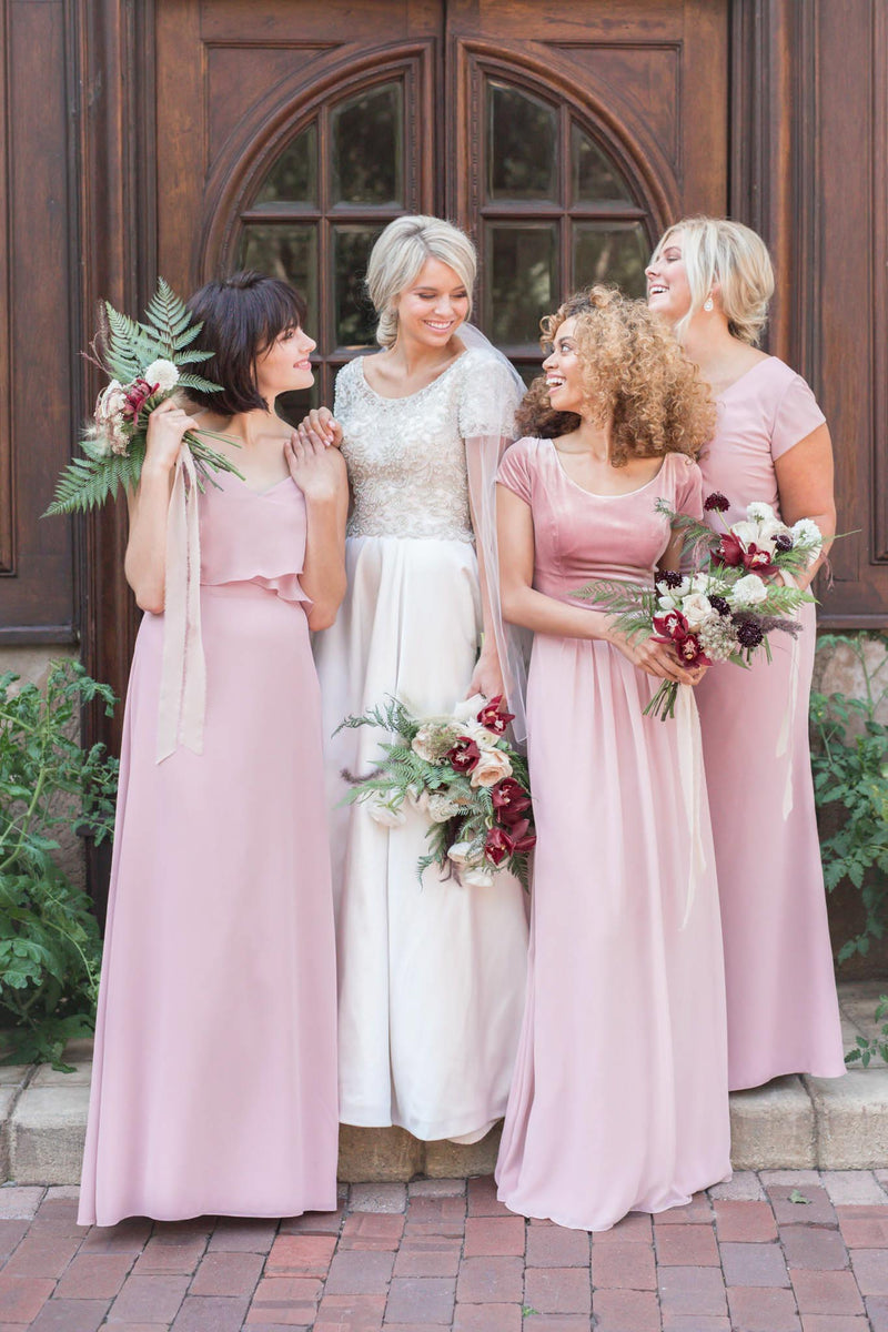 scoop neckline and fully beaded bodice offer the perfect backdrop for that lush satin skirt, modest utah wedding gowns, front view
