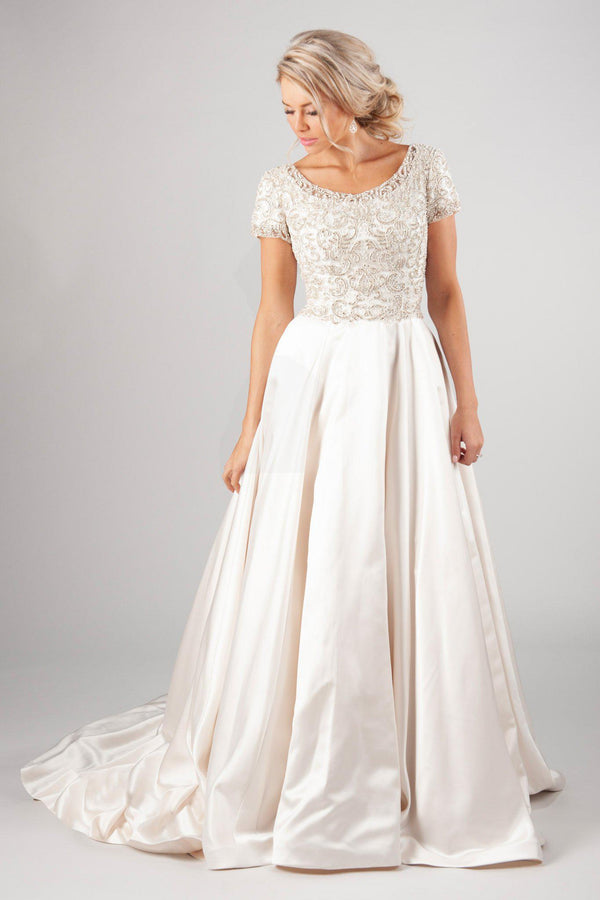 scoop neckline and fully beaded bodice offer the perfect backdrop for that lush satin skirt, modest utah wedding dresses, front view