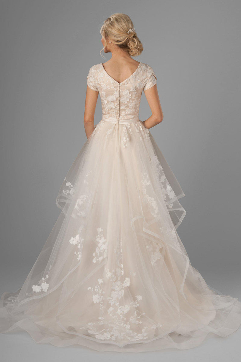new lace, coupled with a dainty v-neck and a modified A-line skirt, modest wedding dress, salt lake city, back view