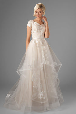 new lace, coupled with a dainty v-neck and a modified A-line skirt, modest wedding dress, salt lake city, front view
