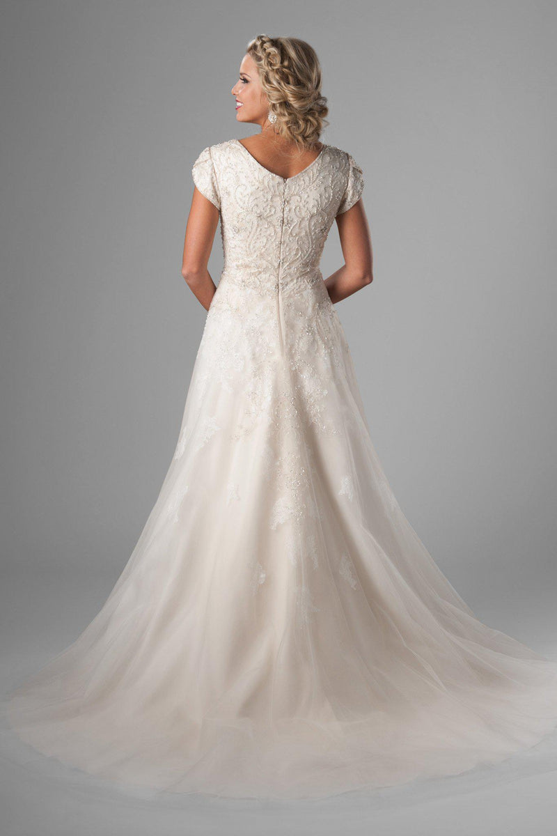 modest wedding gown. We love the bedazzled bodice, changing to soft flowing lace on the tulle skirt, salt lake city, back view
