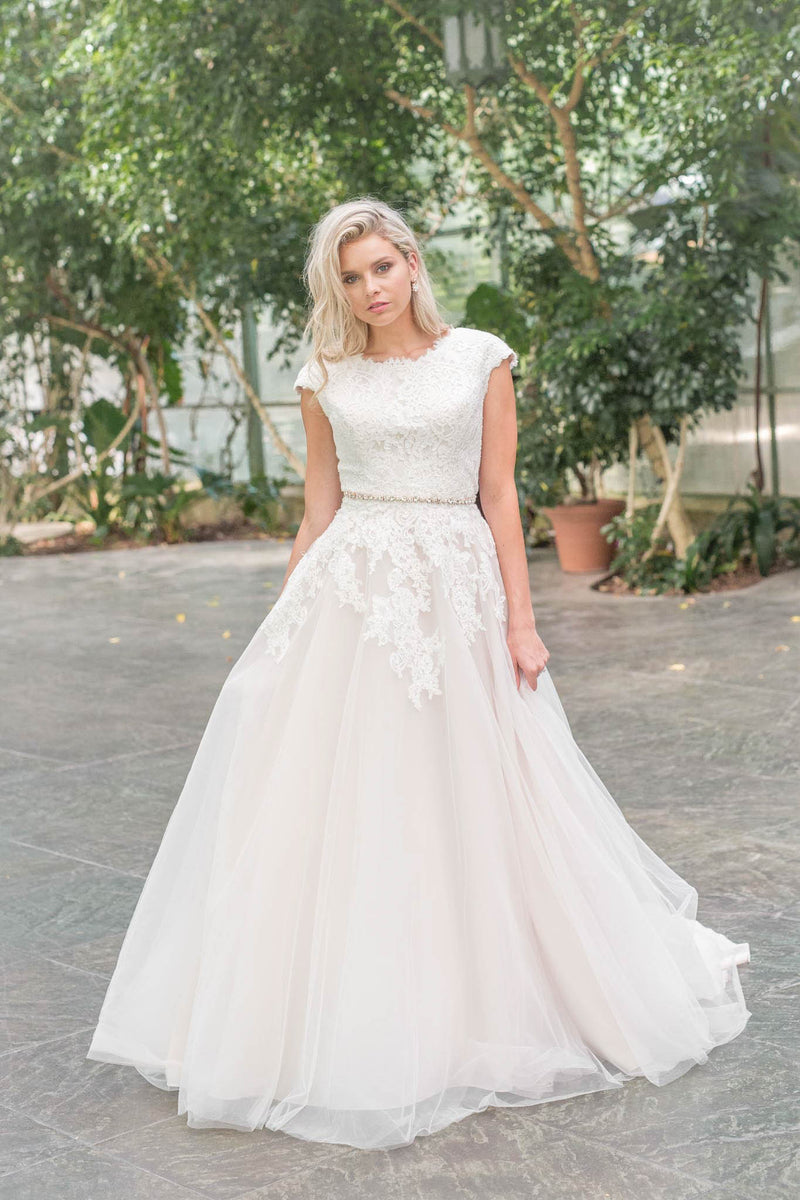 Modest  ballgown, style Dakota, is part of the LatterDayBride Collection, a Salt Lake City bridal shop.