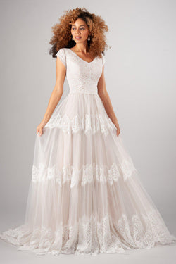 Modern modest wedding dress, style Easton, is part of the LatterDayBride Collection, a Utah wedding dresses.