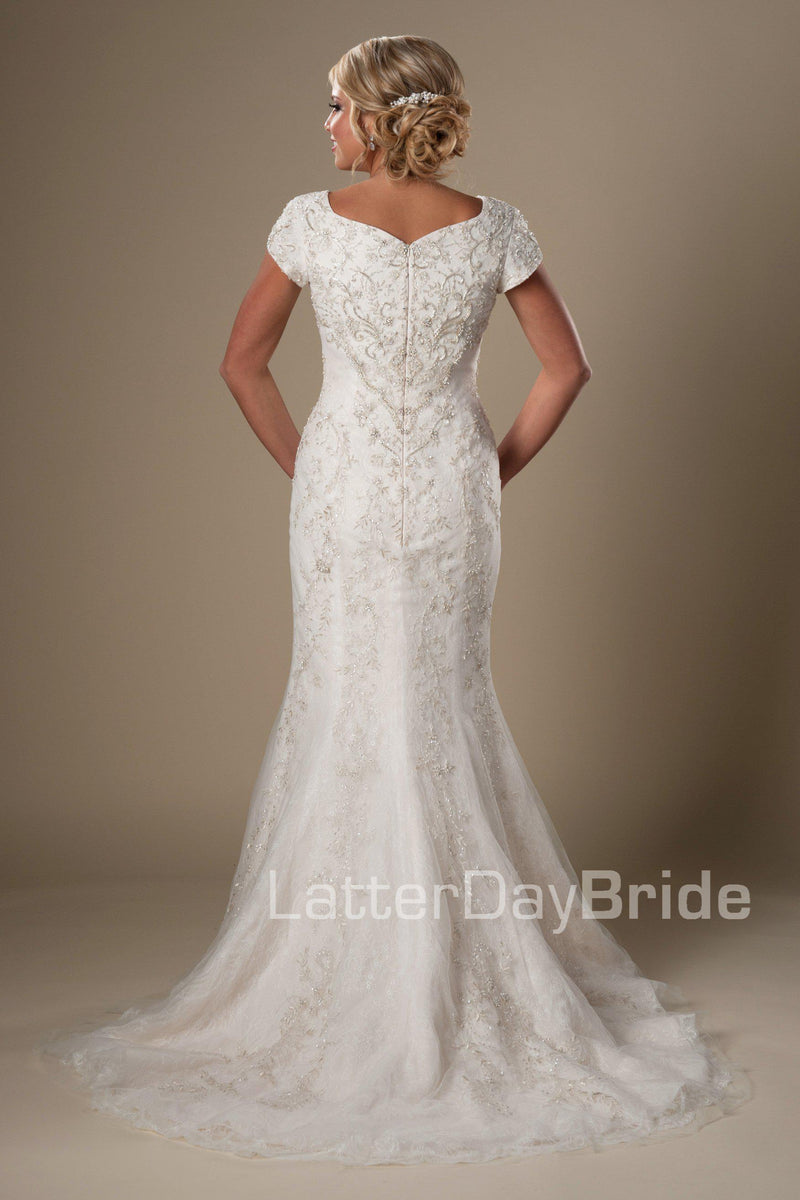 Back of Fit & flare modest bridal gown, style Eliason, is part of the LatterDayBride Collection, a Utah wedding dresses.