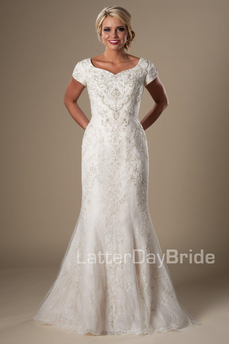 Fit & flare modest bridal gown, style Eliason, is part of the LatterDayBride Collection, a Utah wedding dresses.