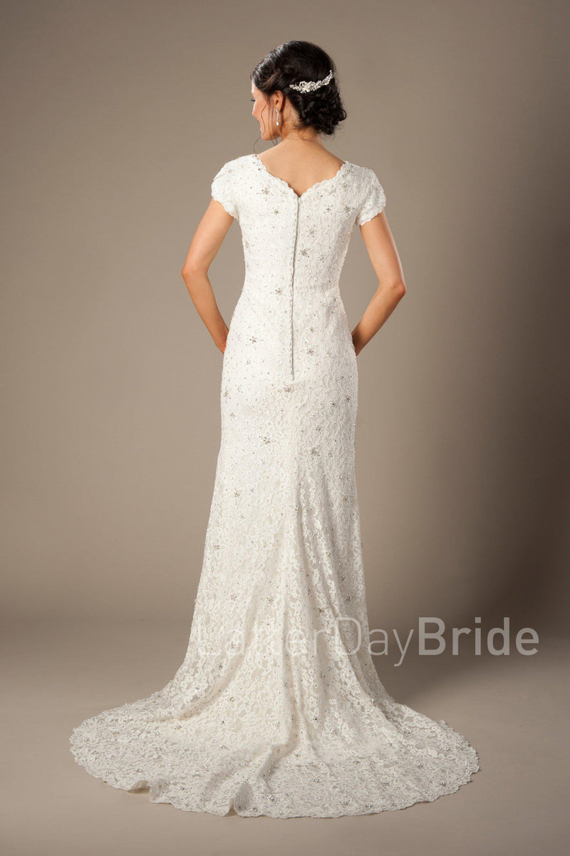 Back of Modest full lace mermaid gown, style Embry, is part of the LatterDayBride Collection, a Utah bridal shop.