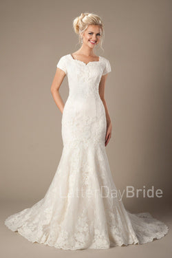 Modest mermaid wedding dress with unique lace pattern, style Galloway, is part of the Wedding Collection of LatterDayBride, a Salt Lake City bridal store.