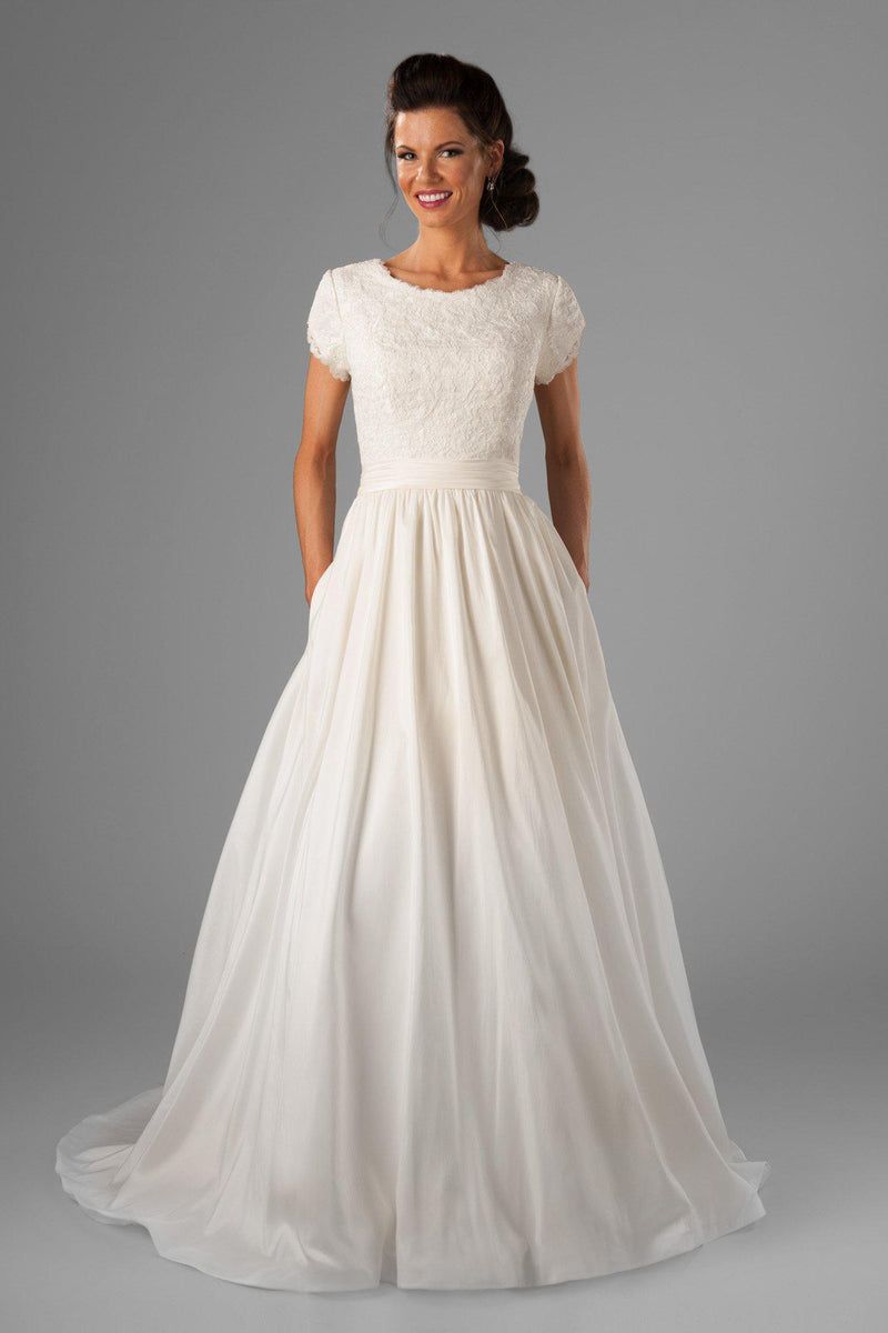 Modest wedding dress with darling lace top, style Joleen, is part of the Wedding Collection of LatterDayBride, a Salt Lake City bridal shop.