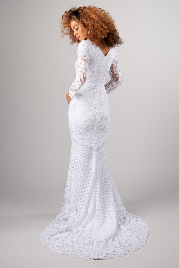 Back of Lace wedding gown with long sleeves, style Lorna, is part of the Wedding Collection of LatterDayBride, a Salt Lake City bridal shop.