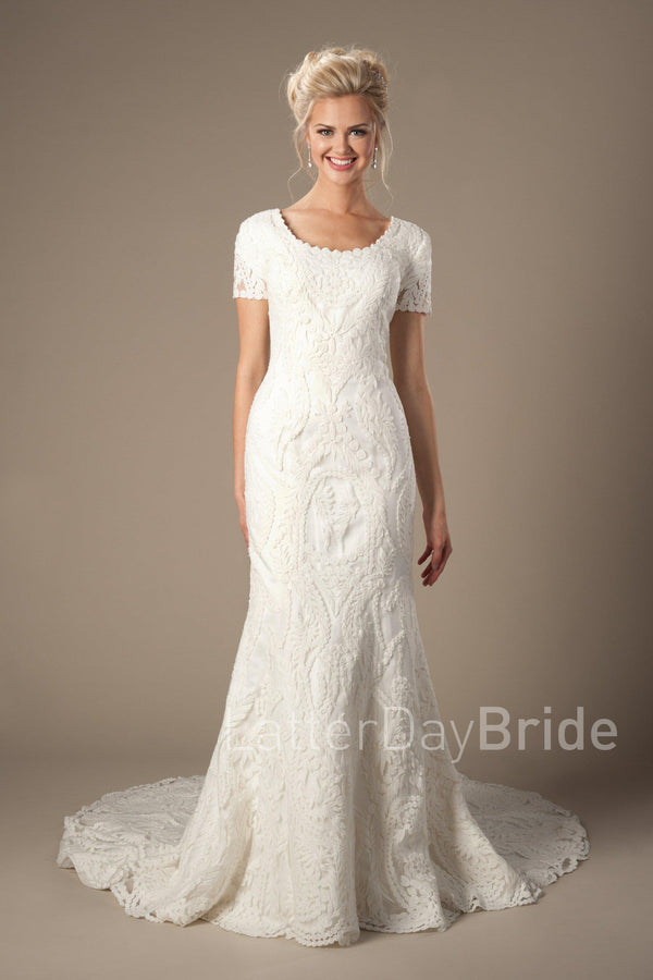 Lovely modest wedding dress with lace, style Palisade, is part of the Wedding Collection of LatterDayBride, a Salt Lake City bridal store.