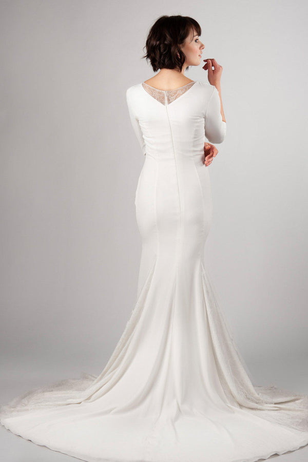 Back of Simple modest wedding dress, style Presley, is part of the Wedding Collection of LatterDayBride, a Salt Lake City bridal store.