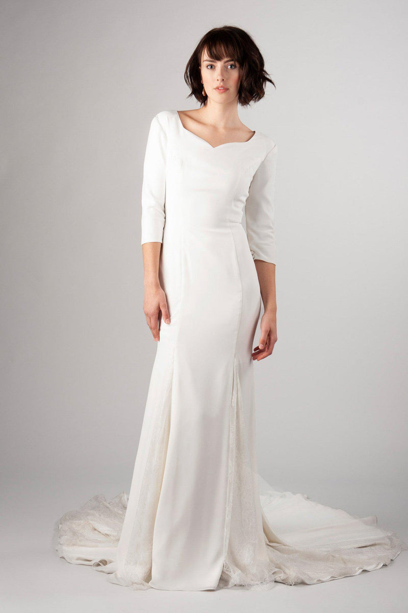 Simple modest wedding dress, style Presley, is part of the Wedding Collection of LatterDayBride, a Salt Lake City bridal store.