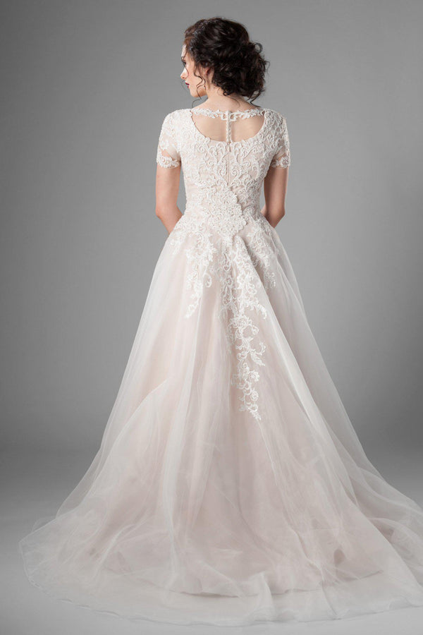 dreamy lace, and stunning ballgown shape of this modest wedding dress, utah wedding gowns, back view  view