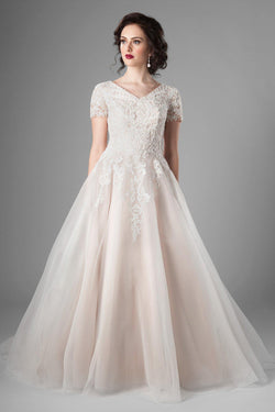 6e7f48af586d dreamy lace, and stunning ballgown shape of this modest wedding dress, utah wedding  gowns
