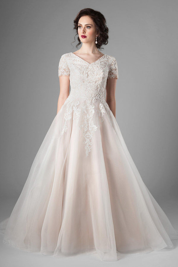 dreamy lace, and stunning ballgown shape of this modest wedding dress, utah wedding gowns, front view
