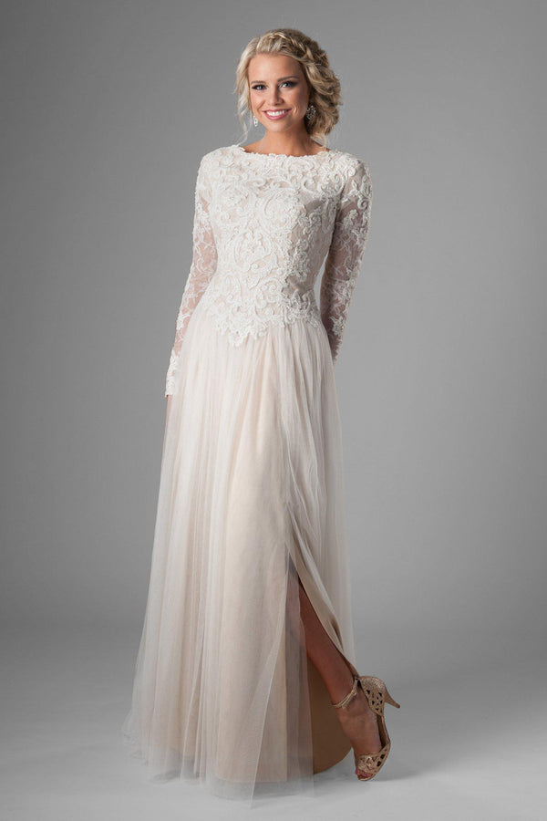 Classy and cozy modest wedding dress with full lace bodice, style Tybree, is part of the Wedding Collection of LatterDayBride, a Utah Wedding Shop.