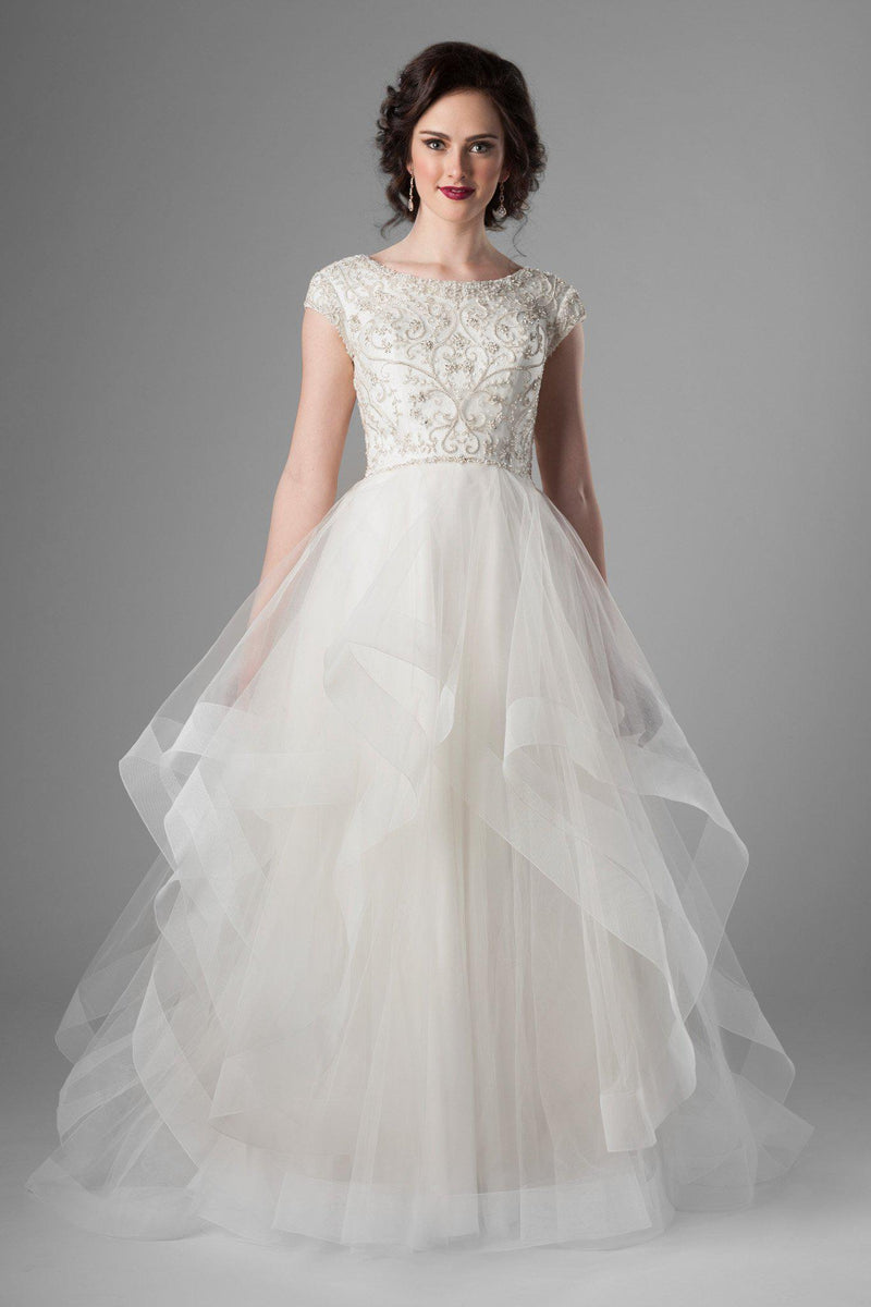 Beaded bodice swirls and tulle skirt modest wedding dress, style Waterford, is part of the Wedding Collection of LatterDayBride, a Utah Wedding Shop.