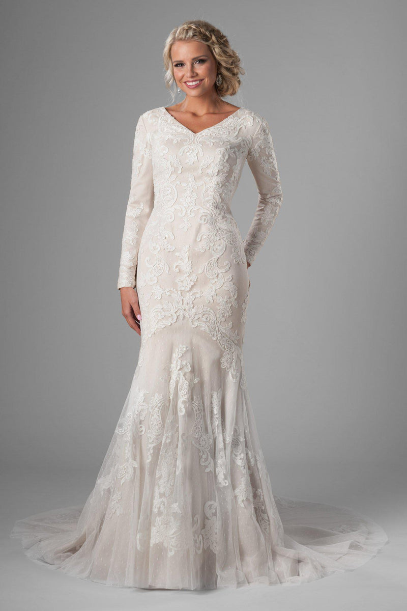 Feminine shape and darling look wedding gown, style Whitman, is part of the Wedding Collection of LatterDayBride, a Utah Wedding Shop.