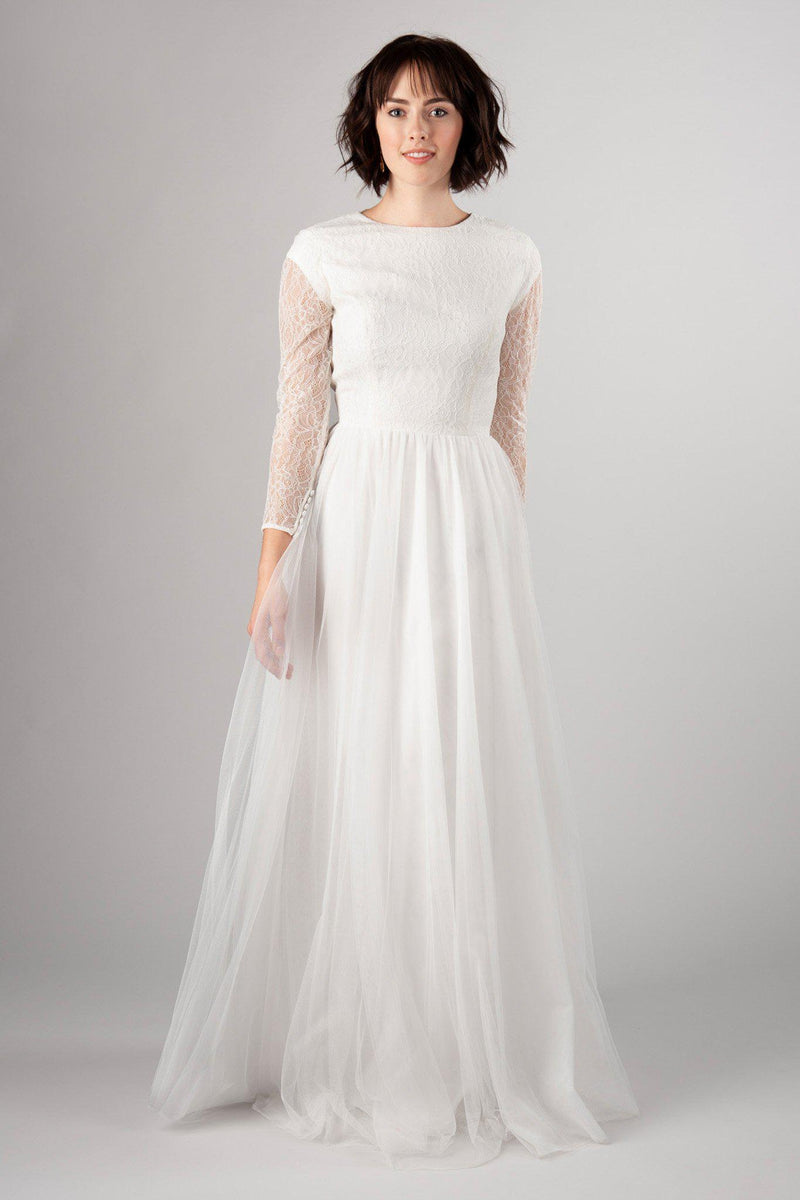 Light and flowy modest wedding gown, style Wisteria, is part of the Wedding Collection of LatterDayBride, a Utah Wedding Shop.
