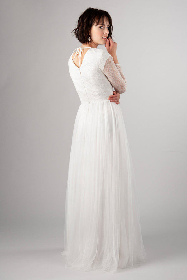 Back of Light and flowy modest wedding gown, style Wisteria, is part of the Wedding Collection of LatterDayBride, a Utah Wedding Shop.