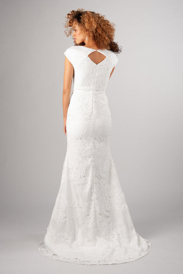 4d64cc698b60 Back of Flattering fit with soft and romantic lace modest wedding gown,  style Woodbury, ...