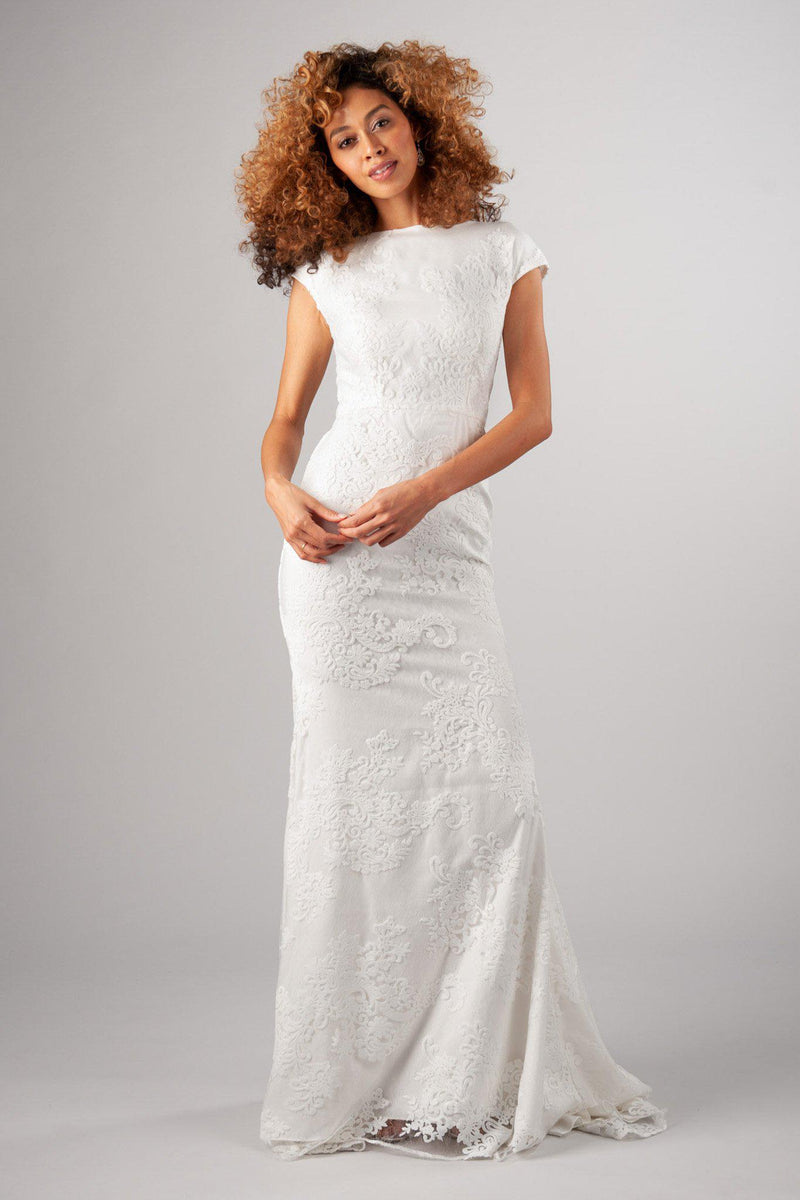 Flattering fit with soft and romantic lace modest wedding gown, style Woodbury, is part of the Wedding Collection of LatterDayBride, a Utah Wedding Shop.