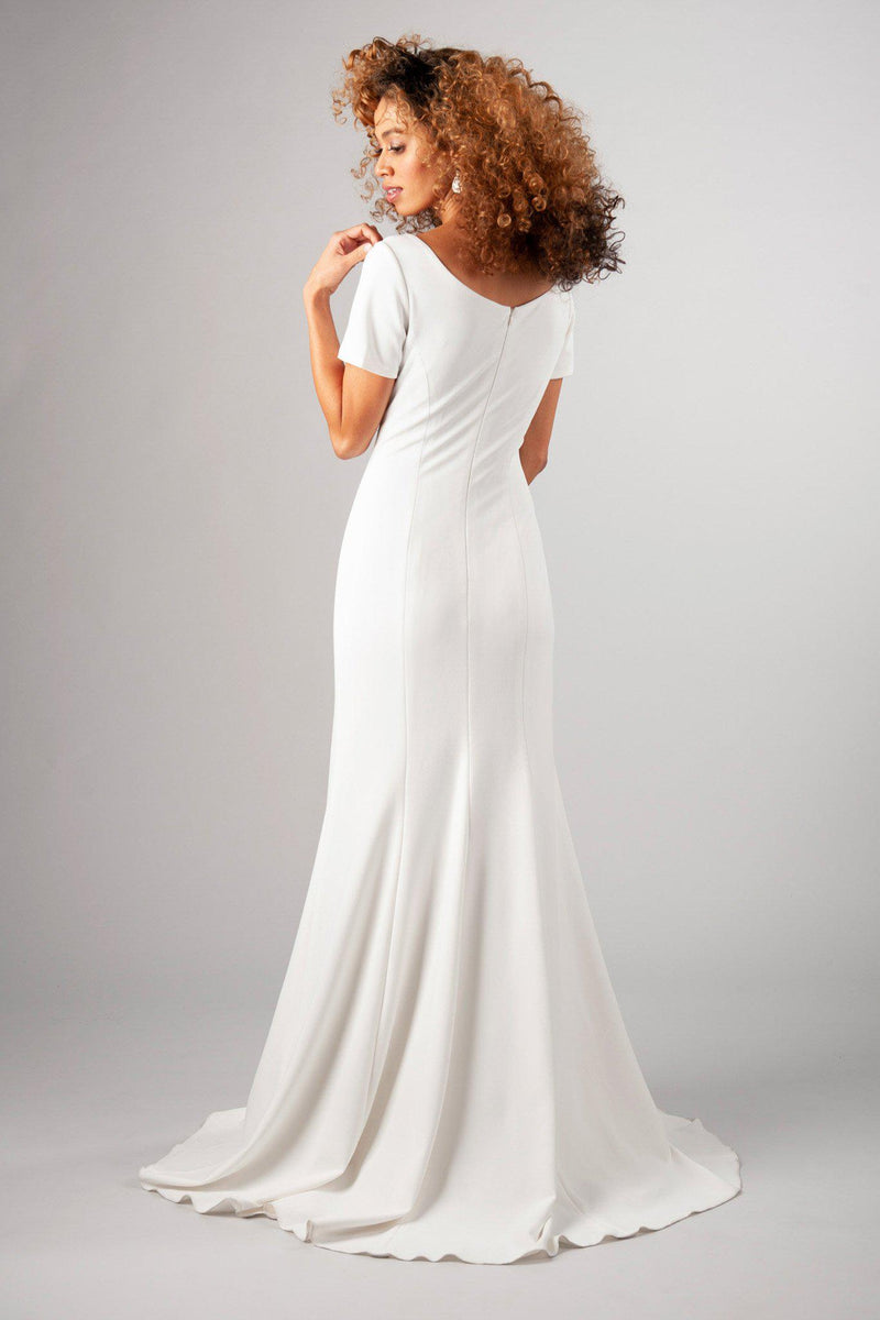 imple lines, darling sleeve and the freeing stretch of this fabric, modest wedding dress, utah wedding gowns, back view