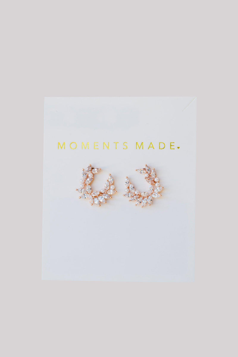 pearl and leaf-shaped crystals, accented with rose gold, curved into a rounded shape from bridal shop in salt lake city utah