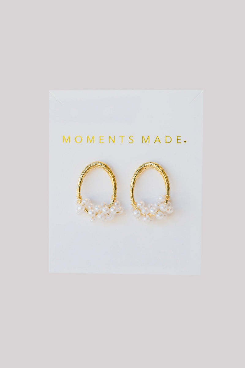Hoop earrings lined in gold with pearls from bridal shop in salt lake city utah
